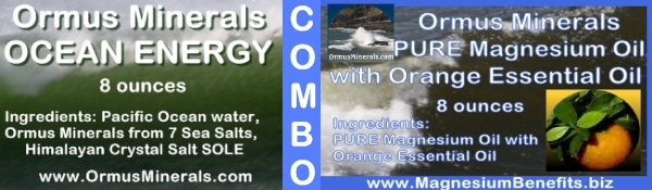 Combo Set Ormus Minerals Ocean Energy & PURE Magnesium Oil with Orange Essential Oil 8 oz