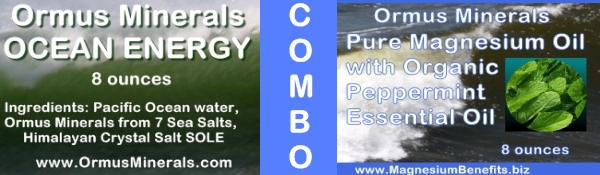 Combo Set Ormus Minerals Ocean Energy & PURE Magnesium Oil with Organic Peppermint Essential Oil 8 oz