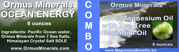 Combo Set Ormus Minerals Ocean Energy & PURE Magnesium Oil with Tea Tree Essential Oil 8 oz