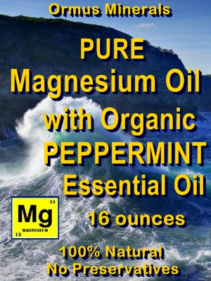 Ormus Minerals -Magnesium Oil with Organic PEPPERMINT Essential Oil