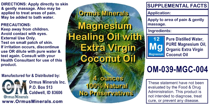 Ormus MInerals Magnesium Healing Oil with Organic Extra Virgin Coconut Oil