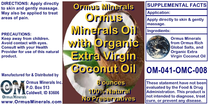 Ormus Minerals Organic Extra Virgin Coconut Oil 8 oz