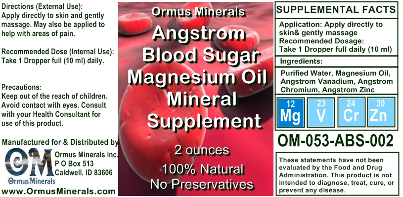 Angstrom Mineral Supplements Blood Sugar Support Mineral Supplement 2 oz