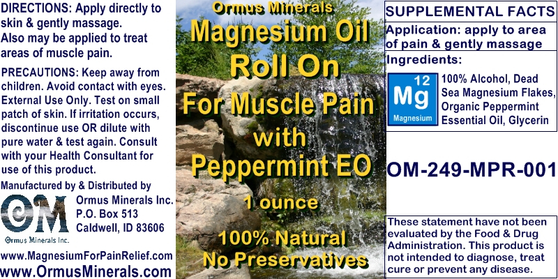 Ormus Minerals - Magnesium Oil Roll On for Muscle Pain with Organic PEPPERMINT Essential Oil
