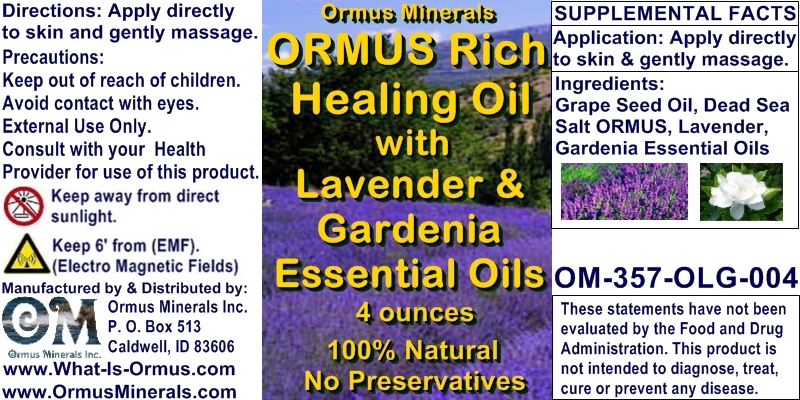 Ormus Minerals - Ormus Rich Healing Oil with Lavender and Gardenia EO's