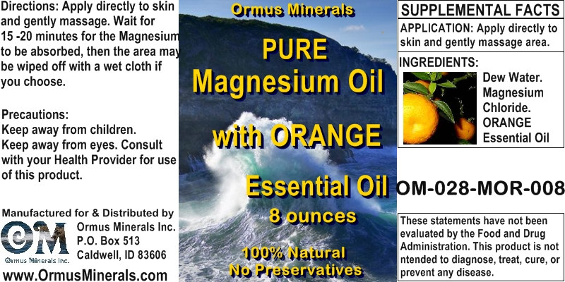 Ormus Minerals - Magnesium Oil with ORANGE Essential Oil