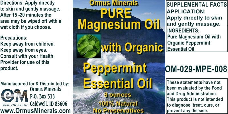 Ormus Minerals - Pure Magnesium Oil with Organic PEPPERMINT Essential Oil