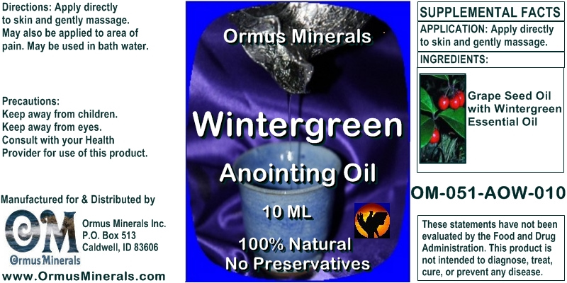 Ormus Minerals - Wintergreen Anointing Oil